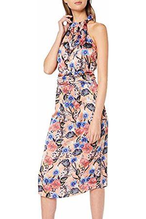 Vila Women's Vievika S/l Halterneck Dress/za (Brandied Apricot AOP: Flower Print) 14 (Size: 40)