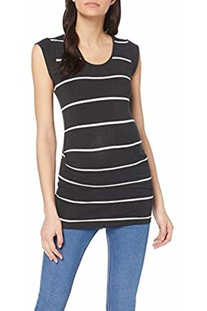 Mamalicious NOS Women's Mlally S/s Jersey Top A. O. Noos Maternity T - Shirt (Dark Melange Stripes:Snow ) 14 (Size: Large)