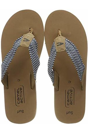 Camel Active Men's Surf 51 T-Bar Sandals (Desert/Navy/Off- 1) 9.5