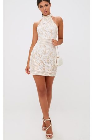 PRETTYLITTLETHING Women Bodycon Dresses - High Neck Lace Crochet Bodycon Dress