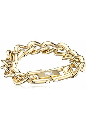 Tommy Hilfiger Women's -Plated Stainless-Steel Chunky Chain Bracelet White Enamel Flag on Closure