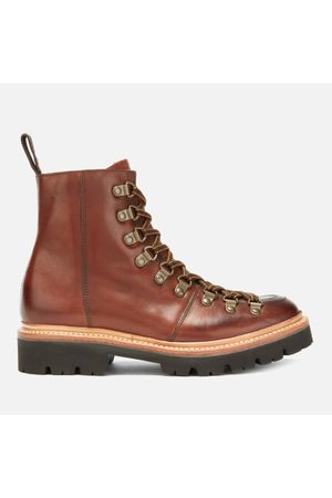 GRENSON Women Lace-up Boots - Women's Nanette Hand Painted Leather Hiking Lace Up Boots