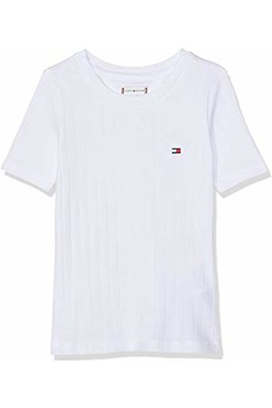 Tommy Hilfiger Girl's Solid Wide Rib S/s Tee T-Shirt, (Bright 123)