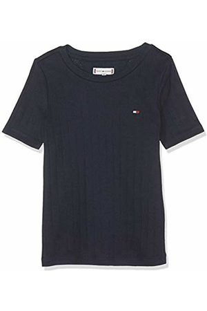 Tommy Hilfiger Girl's Solid Wide Rib S/s Tee T-Shirt ( Iris 002) 98 (Size: 3)