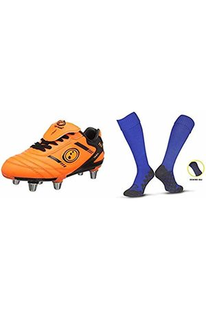 Optimum Boys' Tribal Moulded Stud Rugby BootsFluro Orange/Black2 UK (35 EU) + Men's Classico Sports SocksRoyalJunior (3-6)