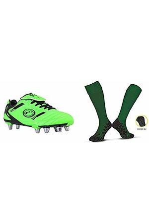 Optimum Men's Tribal Moulded Stud Rugby BootsGreen (Fluro Green/Black)7 UK (40 EU) with Men's Classico Sports SocksGreenSenior (7-11)