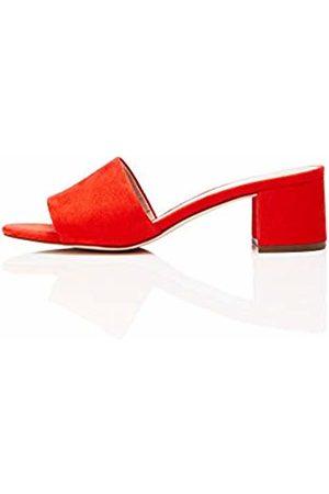 FIND Block Heel Mule Open Toe Sandals, Hot Coral