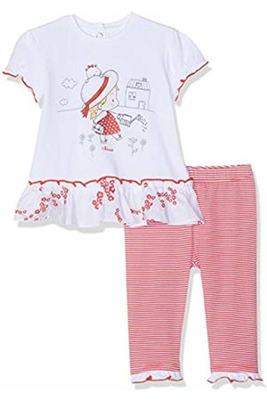 chicco Baby Girls' Completo T-Shirt Manica Corta + Leggings Clothing Set (Bianco E Rosso 037) 30 (Size: 062)