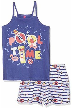 Lina Pink Girl's Bf.Pool.psh Pyjama Set, Marine/Blanc