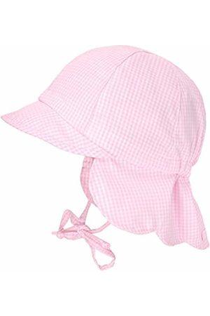 maximo Baby Girls' Schildmütze, Nackenschutzmütze, Bindeband Hat, (Mandelblüte-Weiß-Karo 04)
