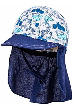 maximo Baby Boys Schildmütze, Nackenschutz, Bindeband, Fahrzeuge Hat, (Silber- Cerulean- 80)