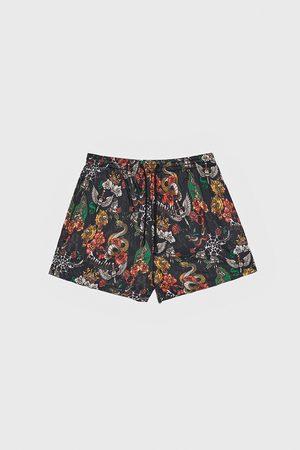 Zara Tattoo print swimming trunks