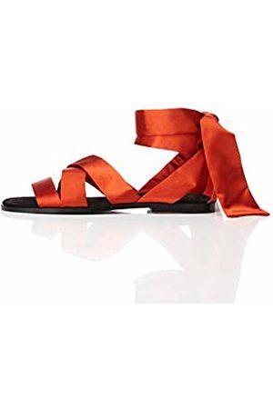 FIND Satin Tie Up Open Toe Sandals, Rust