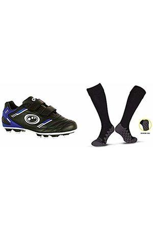 Optimum Boys Tribal Moulded Stud Football BootsBlack (Black/Blue)8 UK Child (26 EU) with Men's Classico Sports SocksBlackJunior (3-6)