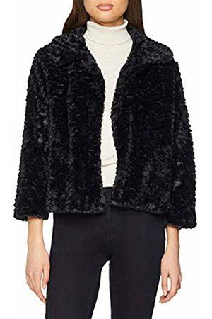 Mela Women's Faux Fur Collar Jacket Crew Neck Long Sleeve Jacket