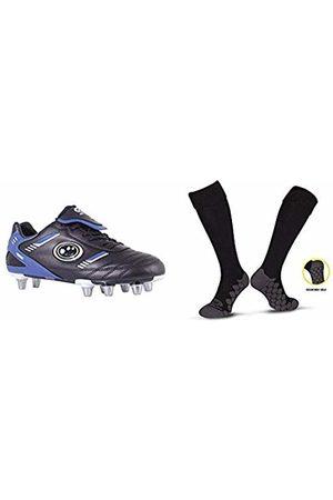 Optimum Men's Tribal Moulded Stud Rugby BootsBlack (Black/Blue)7 UK (40 EU) with Men's Extreme BaseballWhiteOne Size