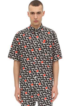 Msgm Heart Printed Cotton Poplin Shirt