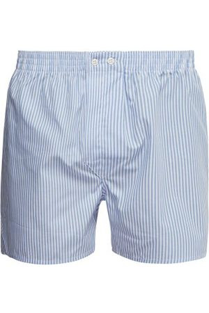 DEREK ROSE Candy-striped Cotton-poplin Boxer Shorts - Mens