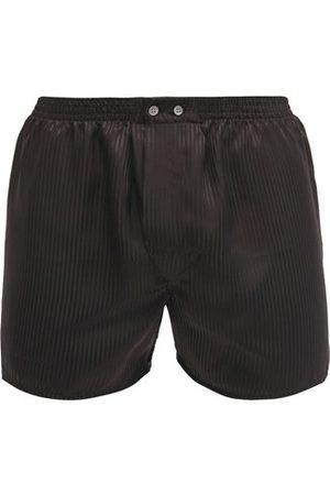 DEREK ROSE Woburn Satin Striped Silk Boxer Shorts - Mens