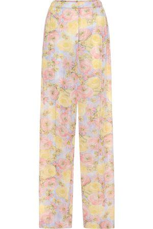 Prada Floral jersey wide leg pants