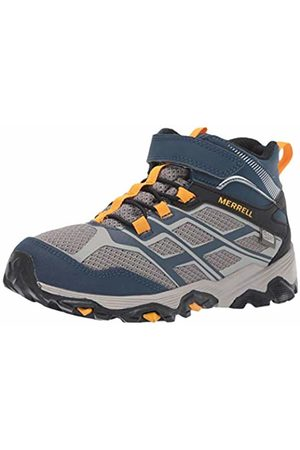 Merrell Kid's M-Moab FST Mid A/C Waterproof High Rise Hiking Boots Navy/Stone
