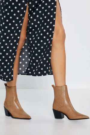 NASTY GAL Womens Run Off Your Feet Croc Faux Leather Boots - - 3