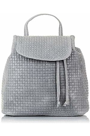 Firenze Artegiani . Woman Geunine Leather Backpack Handbag. Backpack rucksack handbag fine engraved leather .MADE IN ITALY. GENUINE ITALIAN LEATHER32x32x16 cm. Color: Gray Clear