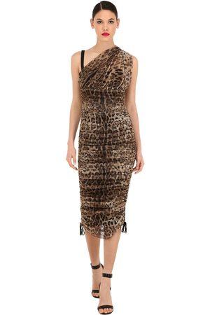 Dolce & Gabbana One Shoulder Stretch Tulle Midi Dress