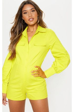 PRETTYLITTLETHING Long sleeves - Neon Lime Button Up Shirt Detail Long Sleeve Playsuit