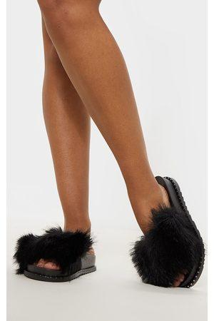 PRETTYLITTLETHING Sandals - Faux Fur Studded Slider