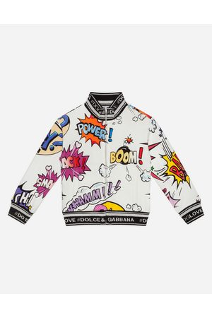 Dolce & Gabbana T-Shirts and Sweatshirts - SWEATSHIRT WITH ZIP IN PRINTED JERSEY