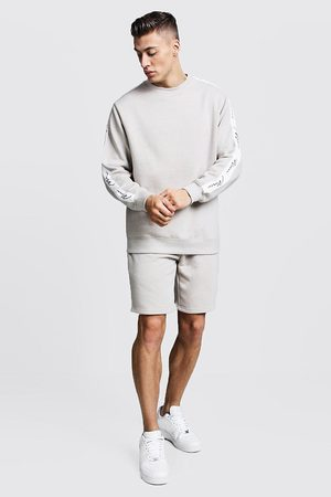 Boohoo MAN Signature Tape Sweater Short Tracksuit