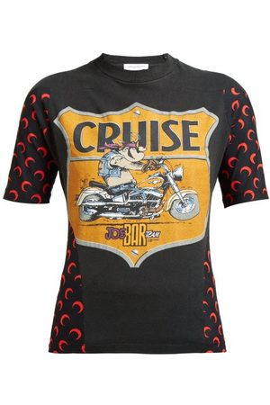 Marine Serre Women Short Sleeve - Motorcycle Print Cotton T Shirt - Womens