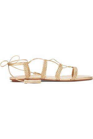 Aquazzura Women Sandals - Stromboli Wrap Around Plaited Leather Sandals - Womens
