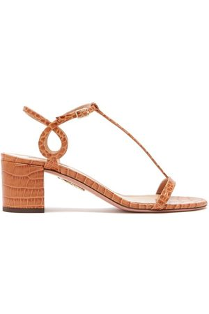 Aquazzura Almost Bare 50 Crocodile Embossed Leather Sandals - Womens
