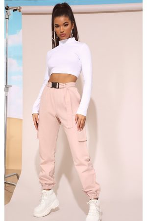 PRETTYLITTLETHING Women Cargo Trousers - Nude Utility Belted Cargo Joggers