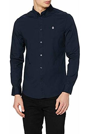 Original Penguin Men's Poplin Slim Fit Plain Button Down Long Sleeve Casual Shirt, ( (Dark Sapphire) 413)