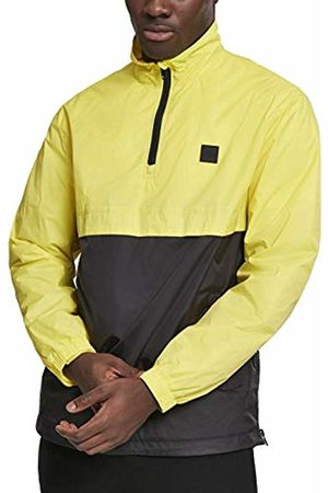 Urban classics Men's Stand Up Collar Pull Over Jacket (Brightyellow/Blk 01733)
