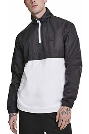 Urban classics Men's Stand Up Collar Pull Over Jacket (Blk/Wht 00050)