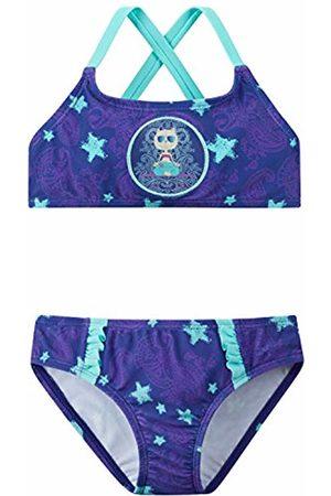 Schiesser Girl's Beach Cat Zoe Bustier-Bikini Swimwear Set, (Purple 820)
