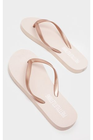 PRETTYLITTLETHING Rose Gold Flip Flop
