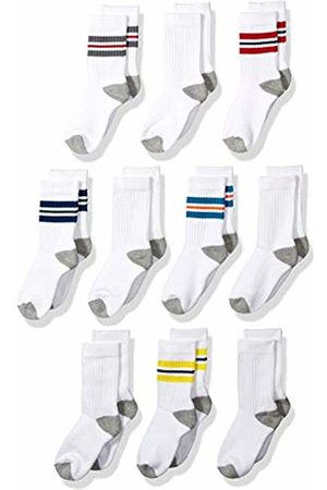 Amazon 10-Pack Cotton Varsity Crew Sock Casual Color Stripe/ with Heather Heel, Toe