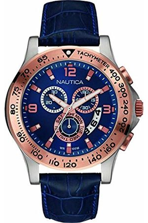 Nautica Mens Chronograph Quartz Watch with Leather Strap NAI19502G