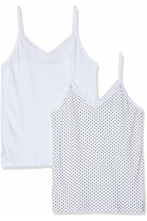 Ulla Popken Women's Plus Size 2 Pack of Lace Trim Camis - Polka Dot