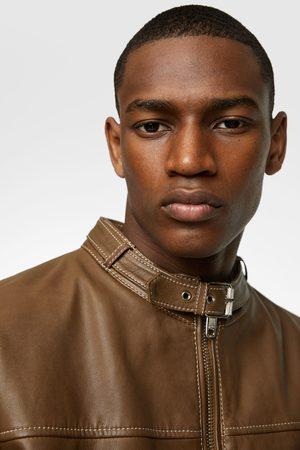 Zara Leather jacket with topstitching