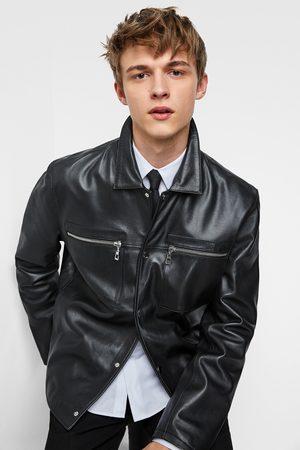 Zara Men Leather Jackets - Leather jacket with pockets