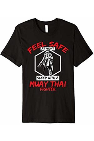 Muay Thai Strikers TShirts Men T-shirts - Muay Thai Gift - Feel Safe With A Muay Thai Fighter T-Shirt
