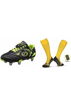 Optimum Boys Razor Rugby Boots(Fluro Yellow)5 UK 38 EU with Men's Classico Sports SocksYellowJunior (3-6)