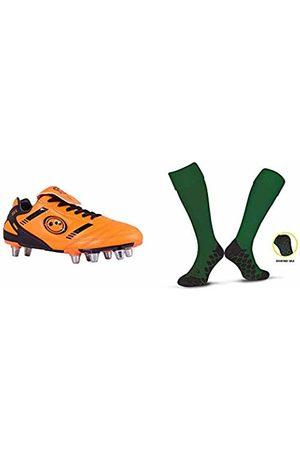 Optimum Men's Tribal Moulded Stud Rugby BootsOrange (Fluro Orange/Black)9 UK (43 EU) with Men's Classico Sports SocksGreenSenior (7-11)