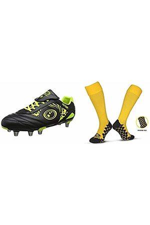 Optimum Unisex Senior Razor Rugby Boots - Black/Fluro Yellow10 with Men's Classico Sports SocksYellowSenior (7-11)